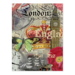 London England Vintage Travel Collage Post Card