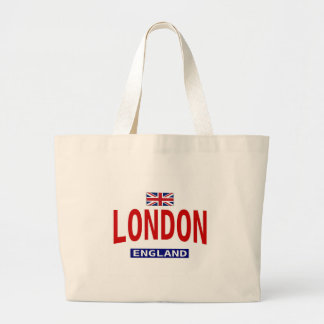 London England With British flag Large Tote Bag