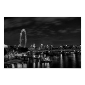 London Eye at night in Black and White Poster