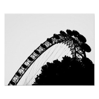 London Eye Black Silhouette Poster