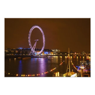London Eye, River Thames and lights from Photographic Print