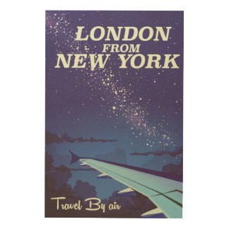 London From New York Vintage flight poster