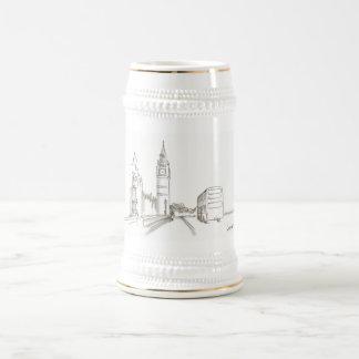 London Golden White Classy Elegant Big Ben Sketch Beer Stein