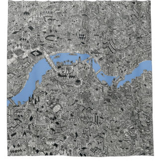 london hand drawn map thames shower curtain