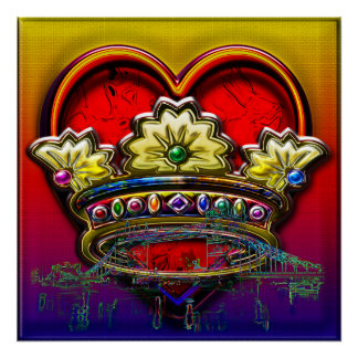 London Heart Royal Rainbow Bevel Crown II Print