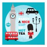 """London high tea lunch invite 5.25"""" square invitation card"""