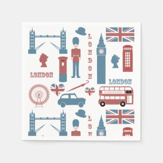 London Icons Retro Love Themed Party Paper Napkins Disposable Serviette