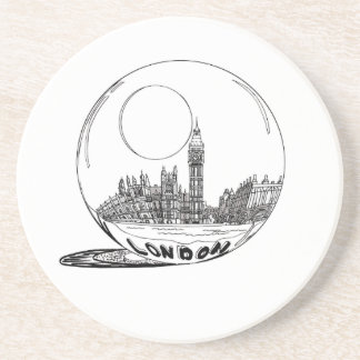 London in a glass ball . coaster