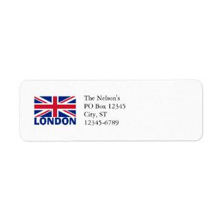 London in Blue Return Address Label