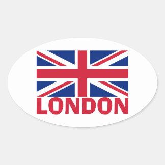 London in Red Oval Sticker