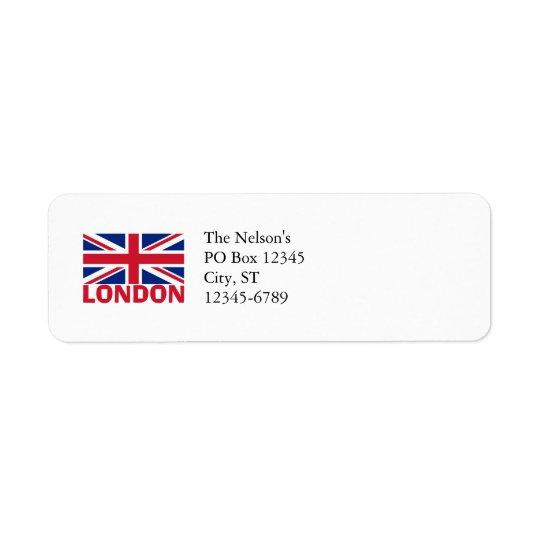 London in Red Return Address Label