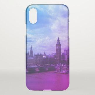 London iPhone X Purple Transparent Case