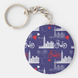 London Landmarks Pattern Basic Round Button Key Ring