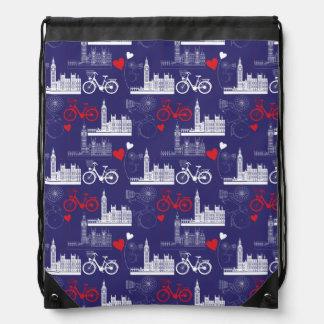 London Landmarks Pattern Drawstring Bag
