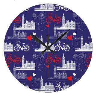 London Landmarks Pattern Large Clock