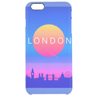 London Landmarks Travel Poster Clear iPhone 6 Plus Case