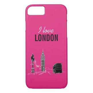 London Neon Modern Pop Art Sketch Black Cool iPhone 8/7 Case