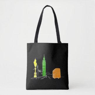 London Neon Modern Pop Art Sketch Black Cool Tote Bag