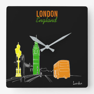 London Neon Pop Art Stylish Cool Sketch Modern Square Wall Clock