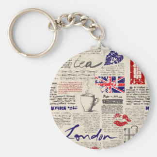 London Newspaper Pattern Basic Round Button Key Ring