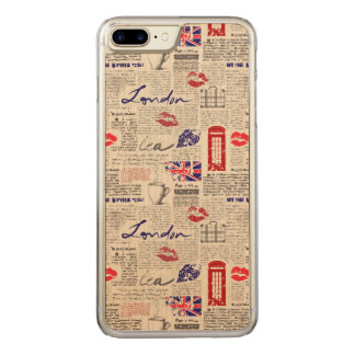London Newspaper Pattern Carved iPhone 7 Plus Case