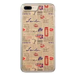 London Newspaper Pattern Carved iPhone 8 Plus/7 Plus Case