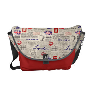 London Newspaper Pattern Commuter Bag