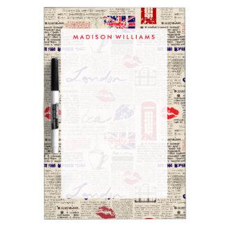 London Newspaper Pattern Dry Erase Board