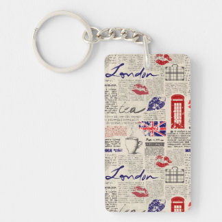 London Newspaper Pattern Key Ring