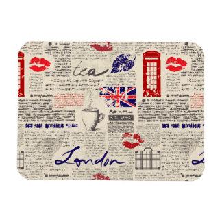 London Newspaper Pattern Rectangular Photo Magnet