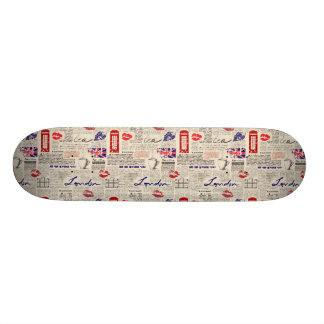 London Newspaper Pattern Skate Deck