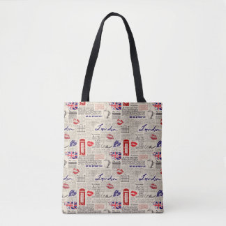 London Newspaper Pattern Tote Bag
