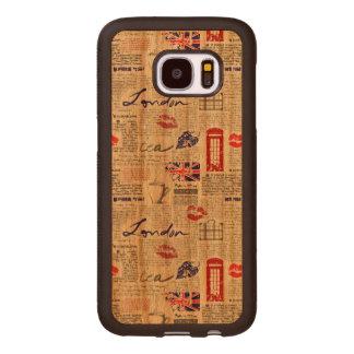 London Newspaper Pattern Wood Samsung Galaxy S7 Case