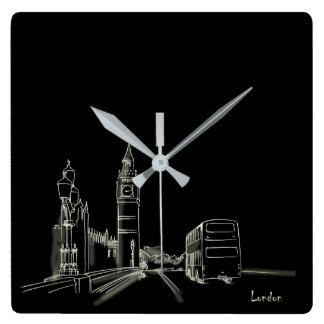 London Nostalgic Elegant Beautiful Black Sketch Square Wall Clock