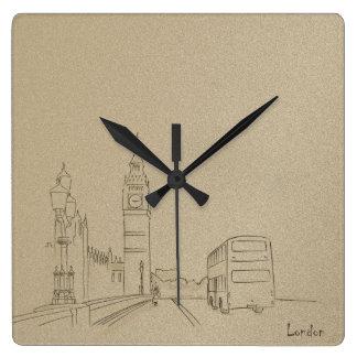 London Nostalgic Elegant Beautiful Golden Sketch Square Wall Clock
