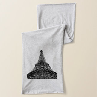 London Paris Black White Jersey Scarf