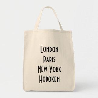 London Paris New York Hoboken Grocery Tote Bag