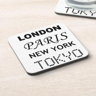 London, Paris, New York, Tokyo. Drink Coasters