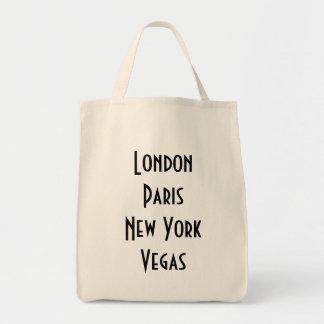 London Paris New York Vegas Grocery Tote Bag