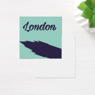 London Parliament Big ben vintage poster Square Business Card