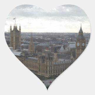 London Parliement Building & Big Ben Heart Sticker