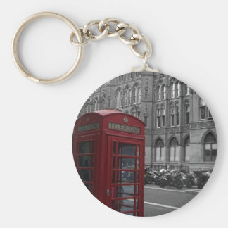 London Phone Booth Basic Round Button Key Ring