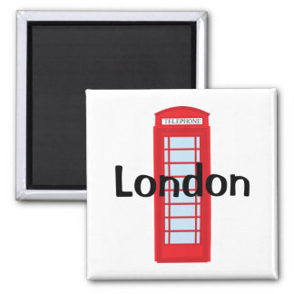 London phone booth square magnet