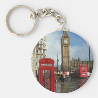 London Phone box & Big Ben (St.K) Basic Round Button Key Ring