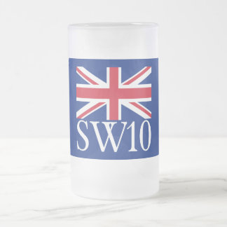 London Postcode SW10 with Union Jack Frosted Glass Beer Mug