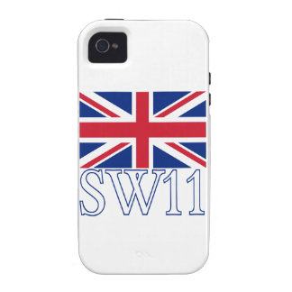 London Postcode SW11 with Union Jack Vibe iPhone 4 Cover