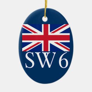 London Postcode SW6 with Union Jack Ceramic Ornament