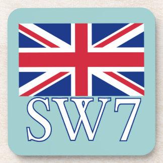 London Postcode SW7 with Union Jack Coaster