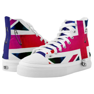 London Punk Grunge Union Jack with Safety Pins High Tops