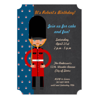London Queen Guard Style Birthday Party invitation